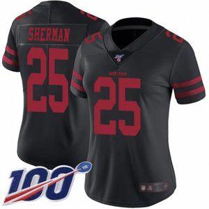 Women 49ers Richard Sherman 100th Season Jersey (1